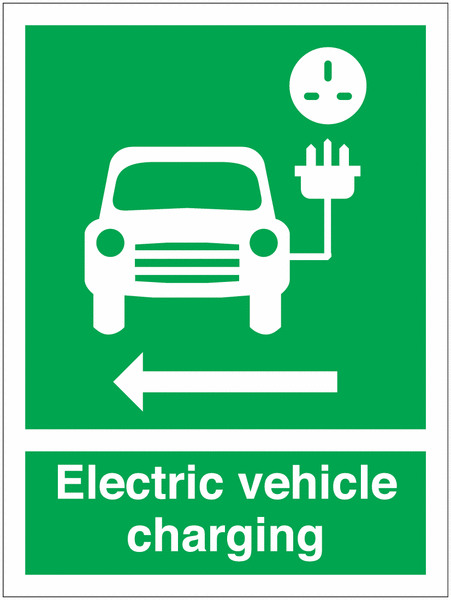 EV Charging Car Symbol & Arrow Left Signs