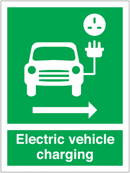 EV Charging Car Symbol & Arrow Right Signs